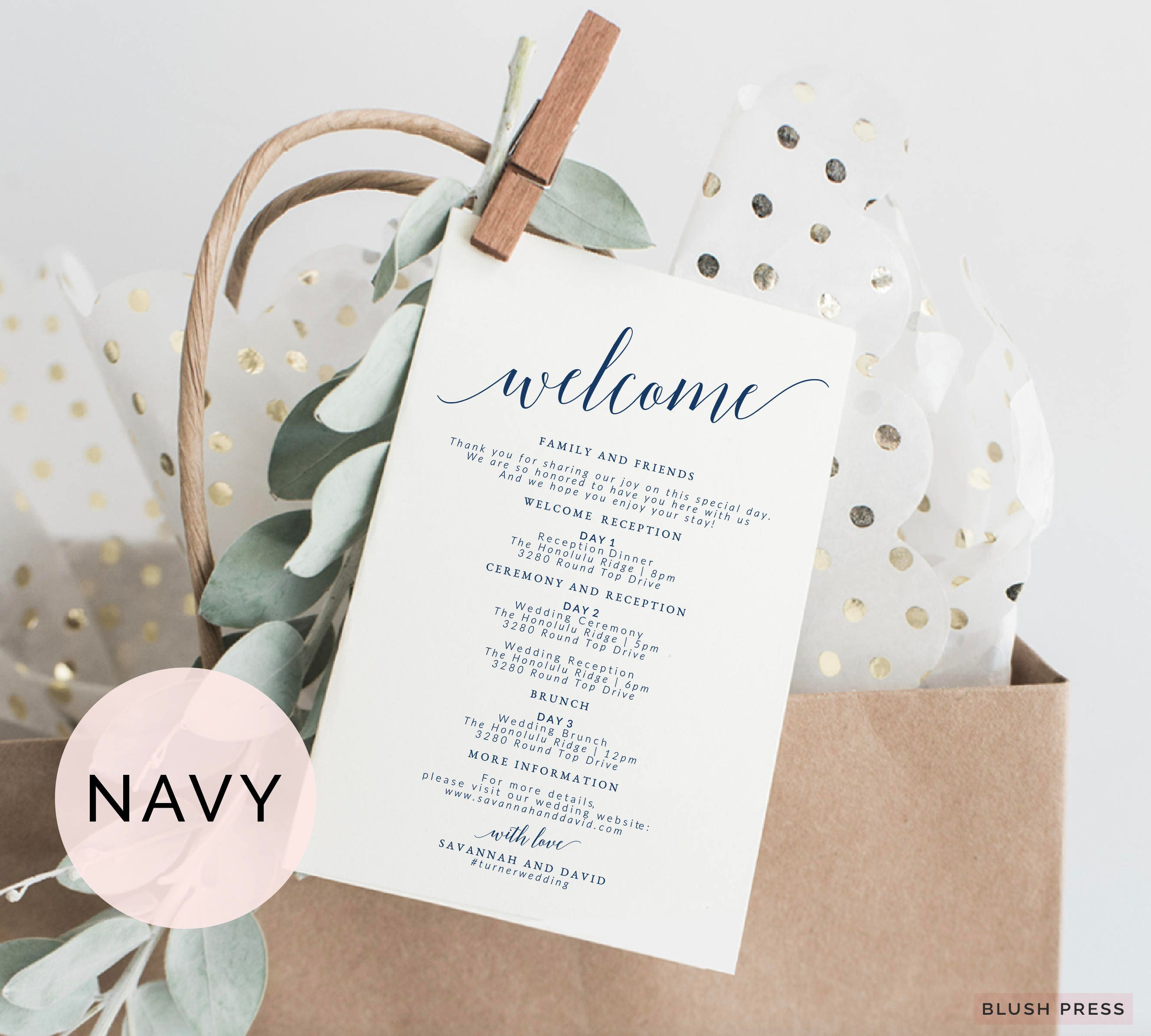 Navy Wedding Itinerary Template Wedding Welcome Bag Tags
