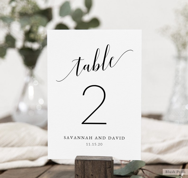 Wedding Table Number Cards Template Printable Table Numbers image 0