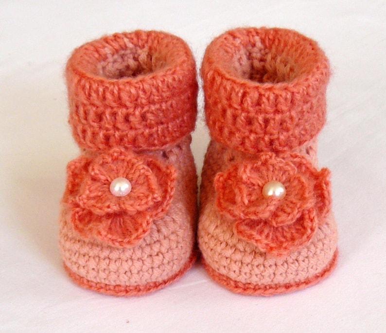 7586bd79dbb84 Crochet baby booties Elegant baby booties for girls Baby shoes Orange  booties Warm child's slippers Warm baby booties