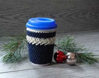 Coffee cup cozy Blue mug sweater Knitted cup sleeve Gift for friends on Christmas Traveler gift Gift participants of home contest games