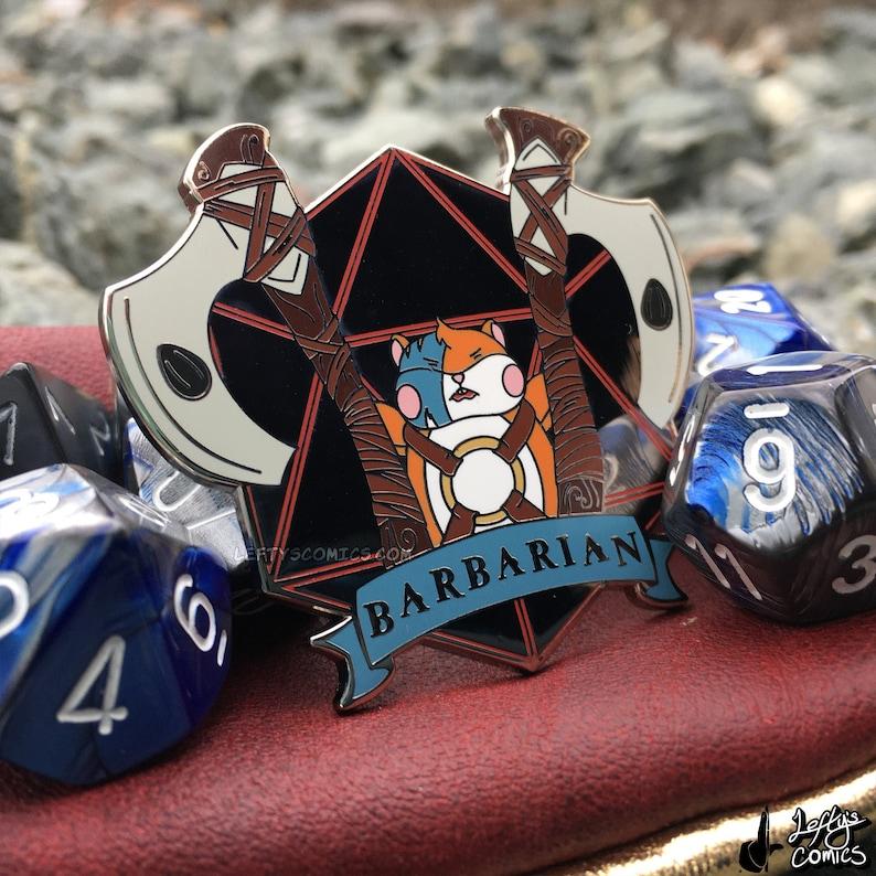 Hamster Barbarian  Dungeons & Plushies Hard Enamel Pins image 1