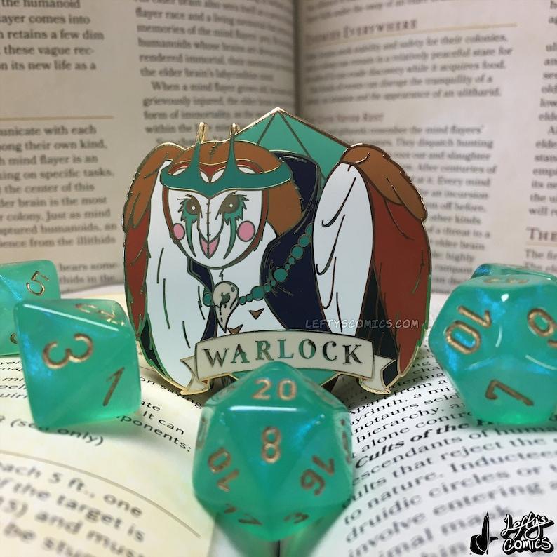Barn Owl Warlock  Dungeons & Plushies Hard Enamel Pins image 1