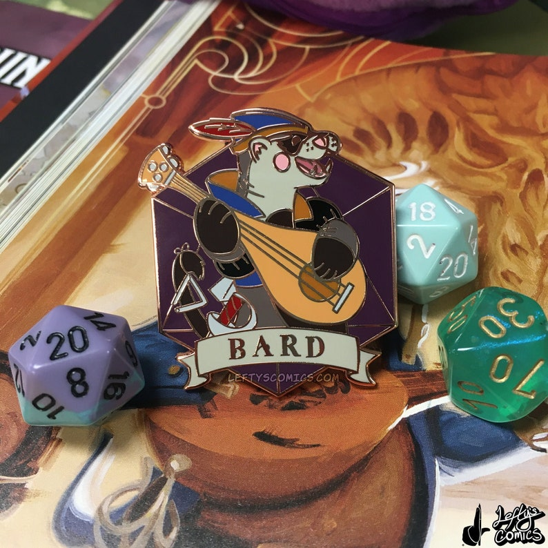 Ferret Bard  Dungeons & Plushies Hard Enamel Pins image 1