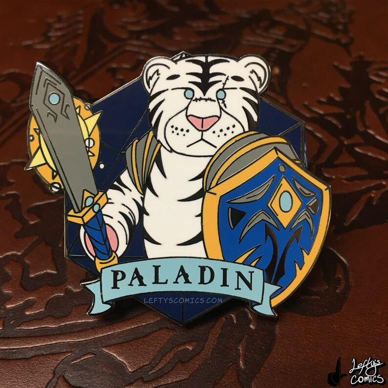 White Tiger Paladin  Dungeons & Plushies Hard Enamel Pins image 1