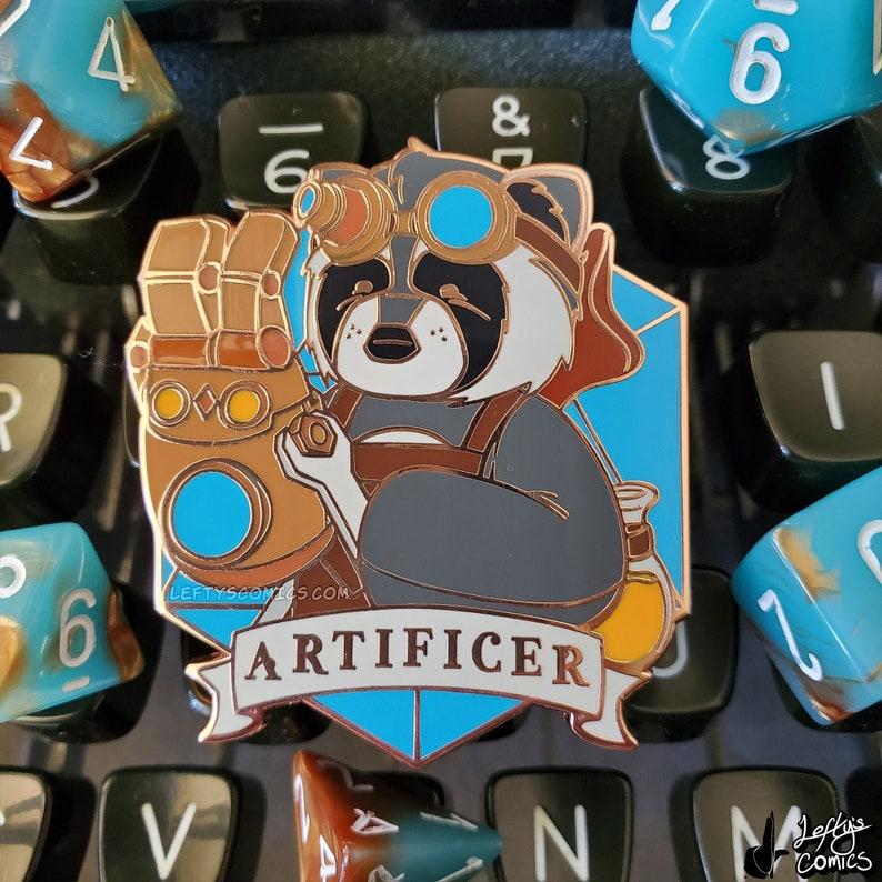 Raccoon Artificer  Dungeons & Plushies Hard Enamel Pins image 1