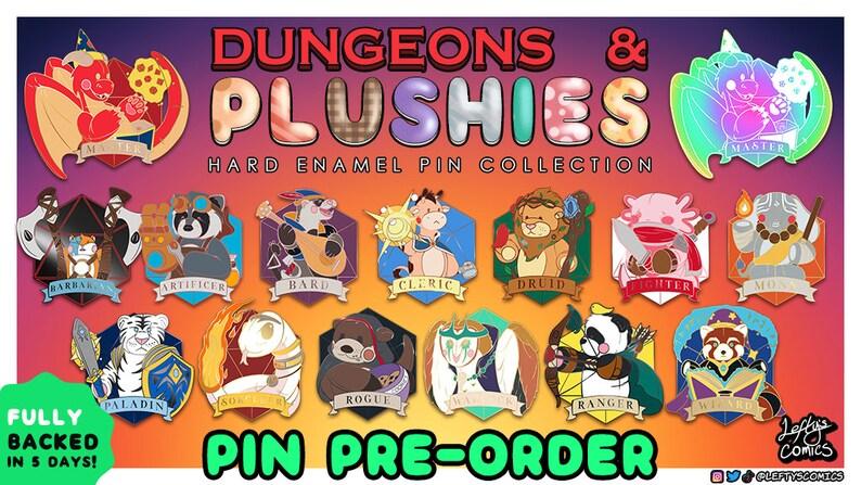 Dungeons & Plushies Enamel Pins PRE-ORDER  13 Class Pins plus image 0