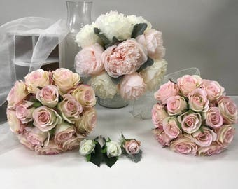 Silk Wedding Bouquet Pink White Peony Rose Bouquets Flower Set