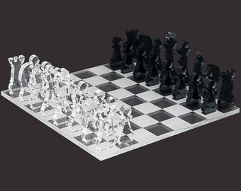 Mini chess game 33tlg. transparent acrylic clear and grey chessboard laser engraved