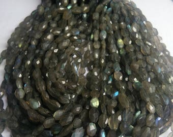 "Fine quality 3 strands LABRADORITE oval Faceted 6x8-7x9 mm aprox. beads,13"" long strands"