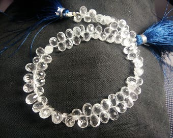 "AAA clear CRYSTAL QUARTZ teardrop Faceted 6x9 mm,9"" loose gemstone beads strands"