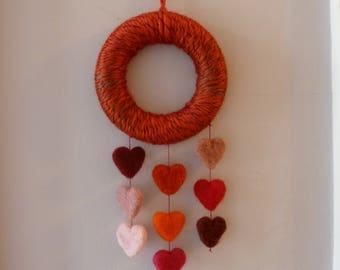 Wall Hanging, Needle felted hearts, wool wreath, heart decoration, felt hearts, heart hanger, lightweight, wall decoration, felt art, wreath