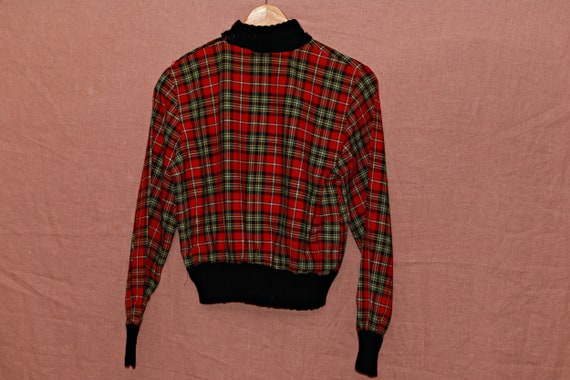 Vintage check print high neck womens blouse shirt