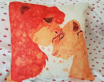 disney lion king simba nala  water colour inspired love cushion cover 45 by 45 cm  gift