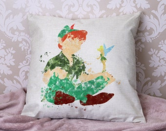 disney Peter pan Tinkerbell silhouette colour splash art inspired cushion cover 45 by 45 cm  gift
