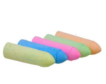 5 Chalk Sticks for drawing hobby and craft kids projects coloring mixed colors trace outline school projects street and sidewalks art