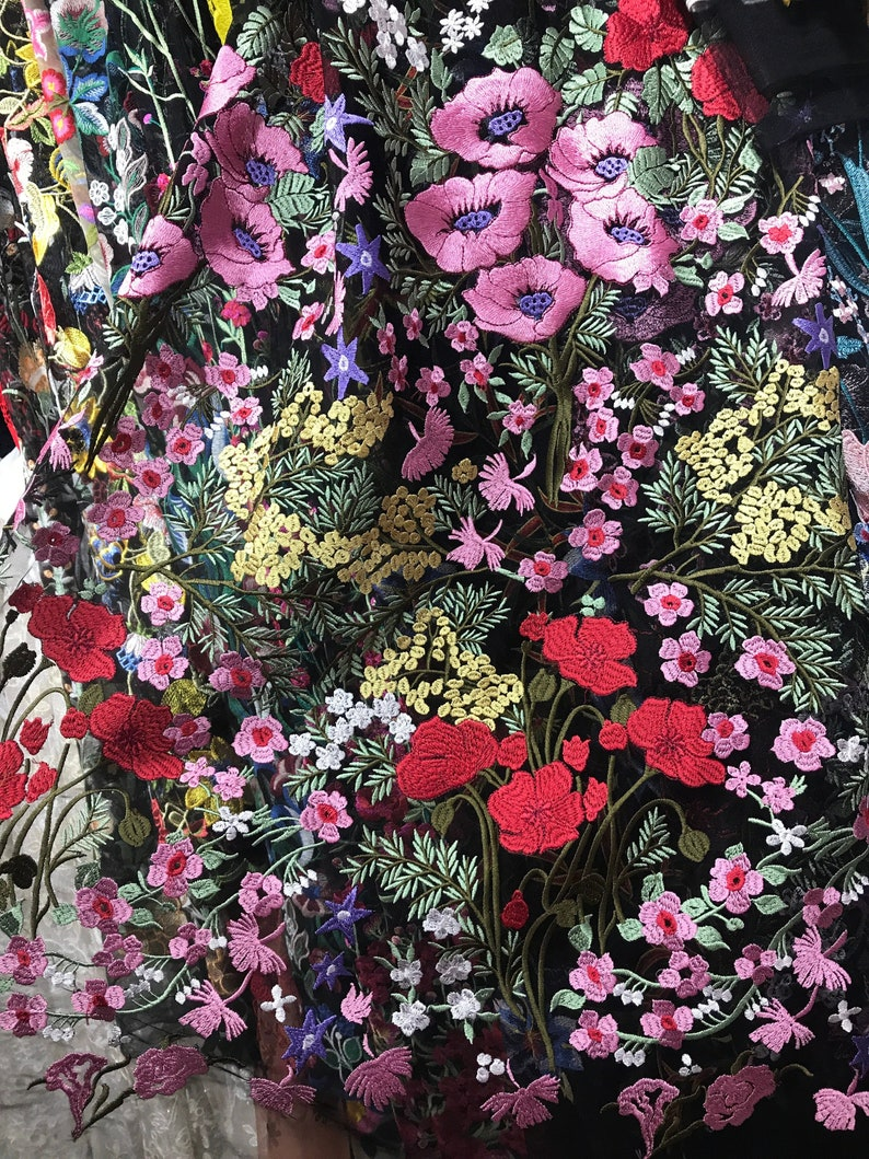 7e0531cb3410f 2019 Luxury embroidery lace fabric , lace fabric for fashion show ,  colorful flower lace fabric ,dress fabric