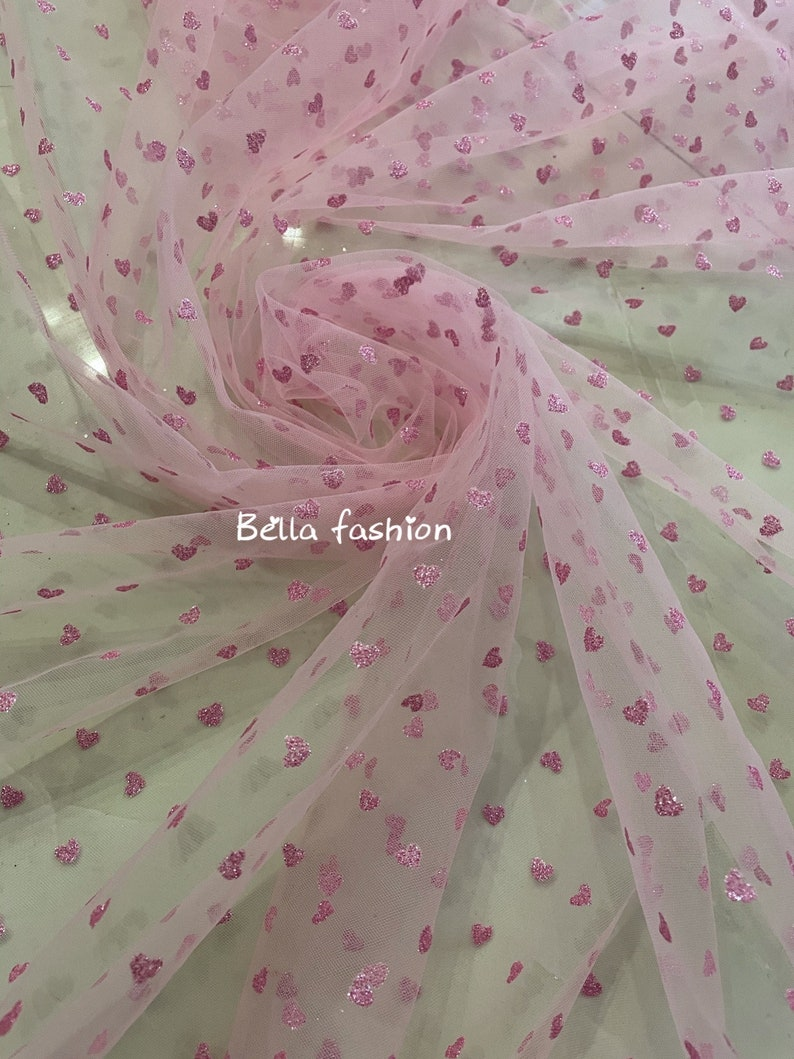 Prom Gown New fashion pink tulle lace fabric for girls Lace fabric with Pink heart glitter Birthday Dress