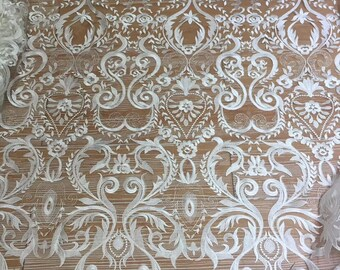 Newest design embroidery lace fabric tulle bridal lace guipure french lace fabric for wedding dress