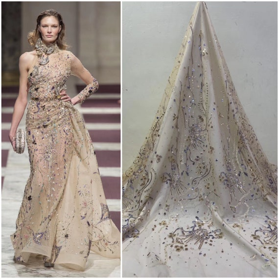 shinning dress fabric fashion show lace fabric with feathers Luxury fashion colorful sequins design red lace fabric