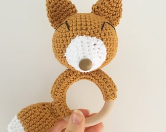 Rattle Fox crochet for baby with Bell