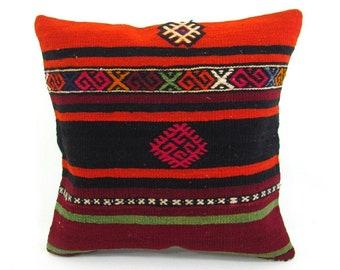 Turkish Kilim Pillow Cover 16x16 Throw Pillow Kilim Cushion Case Boho Home Decor Pillow housewarming gift for women outdoor pillow