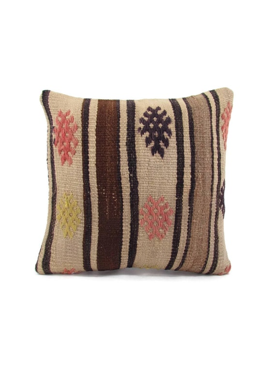 Kilim Cushion Case Throw Pillow Cover 16x16 Kilim Pillow Home Decor Turkish Pillow Sofa Pillow Cover 16x16 mothers day gift for mom