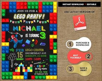 Lego birthday invite etsy lego birthday invitation instant download lego invitations birthday printable lego thank you card boy lego party invitation stopboris Gallery
