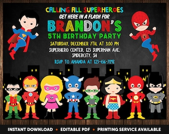 Superhero Invitation Instant Download Birthday Party Invitations For Boys