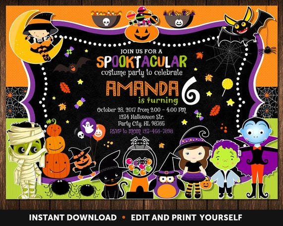 Halloween birthday invitation birthday invitations halloween etsy image 0 solutioingenieria Choice Image