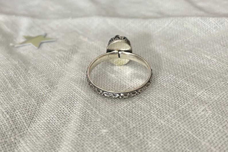 Aquamarine Cabochon set in Fancy Sterling Silver Bezel on Floral Etched Sterling Silver Band March Birthstone US Size 8.5