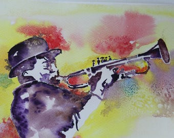 Original watercolor JAZZ trumpeter colorful light and shadow
