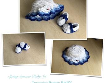 Crochet PATTERN Baby Bootie & Hat Spring Summer Set N 245
