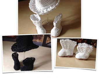 Crochet PATTERN Spring Baby Boot Bootie Hat Set N 282 Size Baby 0-6 and 6-12 months