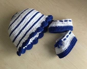 Crochet PATTERN Spring Summer Baby Bootie & Hat Set N 244