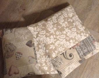 Dekken voor kussen 40cm kant bedrukt met beige wit