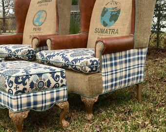 Custom Upholstered Chair U0026 Ottoman Set, Vintage Coffee Sack, Eclectic,  Upcycled, Farmhouse, Shabby Chic, Blue Chairs, Burlap Chairs