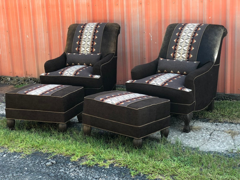 Surprising Sold Custom Upholstered Club Chairs Ottomans Western Southwest Cowhide Navajo Unemploymentrelief Wooden Chair Designs For Living Room Unemploymentrelieforg