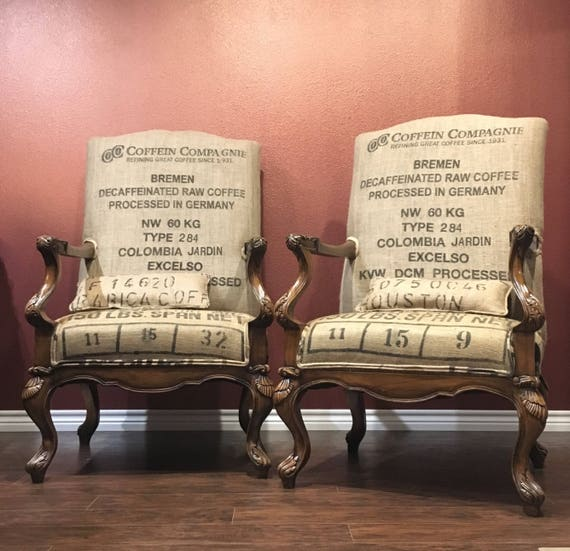 Outstanding Sold Custom Coffee Sack Upholstered Chairs Burlap Accent Chair Rustic Farmhouse Eclectic Chair Wood Upcycled Dining Room Chairs Caraccident5 Cool Chair Designs And Ideas Caraccident5Info
