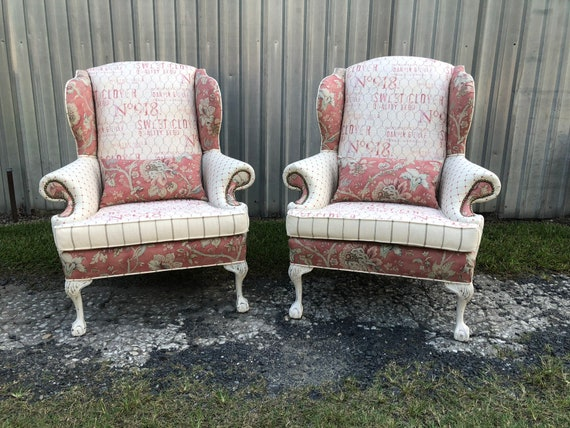 Sold Custom Upholstered Farmhouse Dining Chairs Wingbacks Etsy