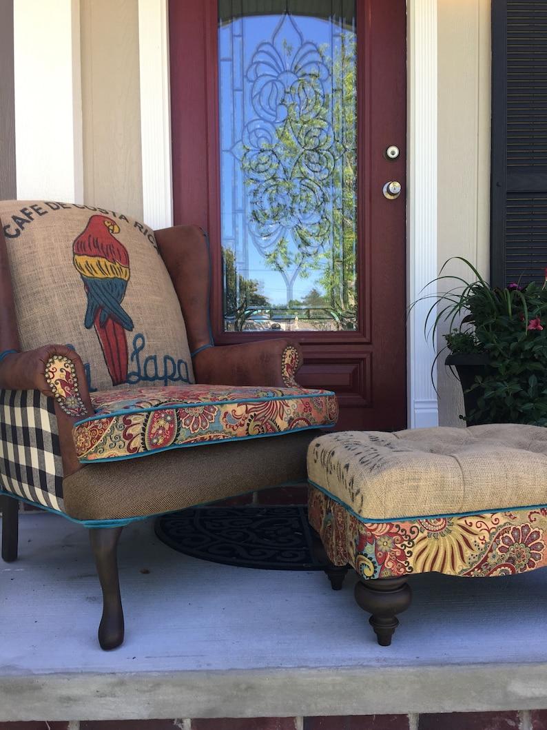 Sold Custom Wingback Ottoman Set Eclectic Coffee Sack Burlap Farmhouse Accent Chair