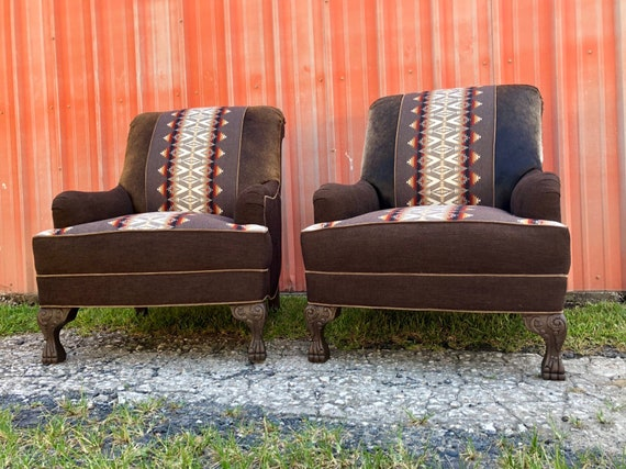 Incredible Sold Custom Upholstered Club Chairs Ottomans Western Southwest Cowhide Navajo Unemploymentrelief Wooden Chair Designs For Living Room Unemploymentrelieforg