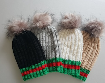 51e93e53bde Hand Knit Hat Gucci Inspired Beanie Hat With Fur PomPom Handmade Knit  Winter Hat Gift Autumn Fall Winter Hat