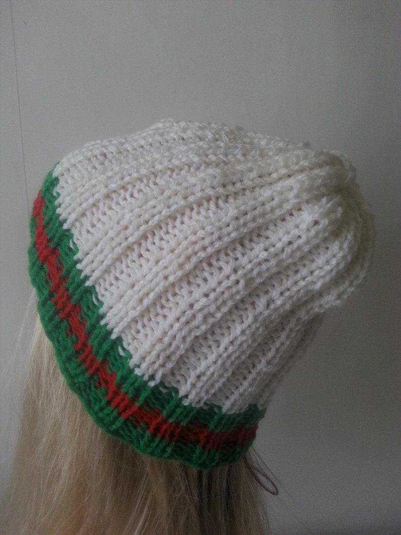 dfe4cbca41d9 Handmade Knit Hat Gucci Inspired Beanie Hat Knit Winter Hat