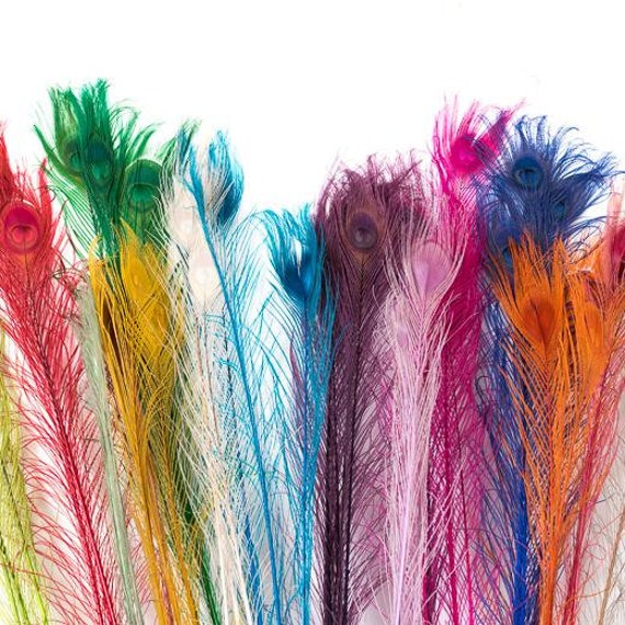"""MILLINERY CRAFT 22/"""" LONG VARIOUS COLOURS WEDDING PEACOCK FEATHERS 20/"""""""