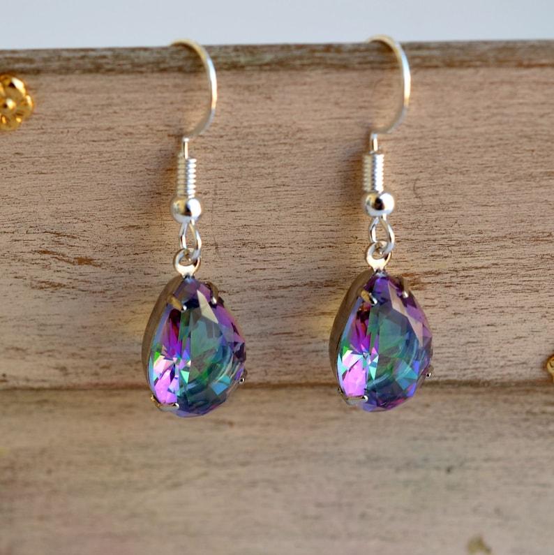 Aurora Borealis Teardrop Earrings Vintage Style Earrings AB Crystal Glass Earrings AB Rhinestone Earrings RH 48