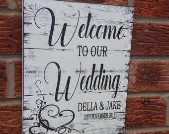 Distressed shabby chic welcome to our wedding personalized Wooden Sign