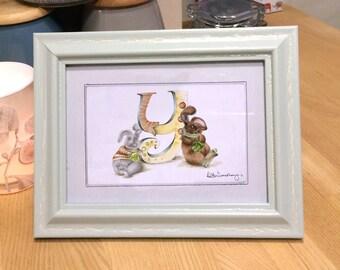 Personalised letter print Y - custom Illustrated alphabet - Mounted children's illustration - Original hand drawn alphabet print - Wall art
