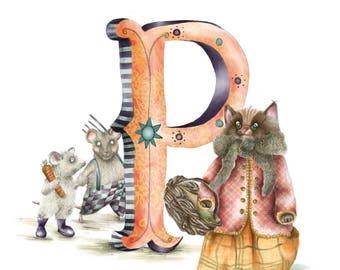 Personalised letter print P - custom Illustrated alphabet - Mounted children's illustration - Original hand drawn alphabet print - Wall art