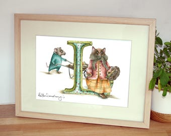 Mounted personalised letter L - Custom Illustrated alphabet - Children's illustration - Original hand drawn alphabet print -Nursery wall art