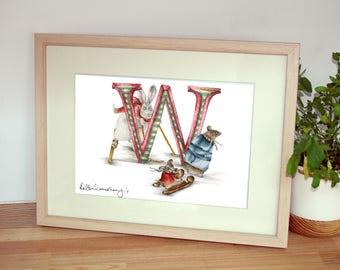 Mounted personalised letter W - custom Illustrated alphabet - Children's illustration - Original hand drawn alphabet print - Baby gift